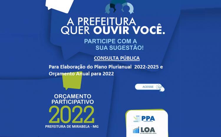 PREFEITURA FARÁ CONSULTA PÚBLICA PARA ELABORAÇÃO DO PLANO PLURIANUAL(PPA) E LEI ORÇAMENTÁRIA ANUAL(LOA)